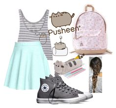 """Pusheen pop"" by autry370 on Polyvore featuring Pusheen, Catherine Catherine Malandrino, Converse, contestentry and PVxPusheen"