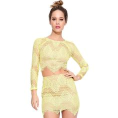 Yellow Lace Three Quarter Sleeve Asymmetrical Crop Top ($28) ❤ liked on Polyvore featuring tops, yellow, sexy tops, sexy crop top, sexy lace tops, 3/4 sleeve lace top and three quarter sleeve tops