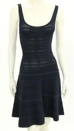 Ralph Lauren Black Label Navy Blue Stretch Knit Sleeveless A-Line Dress Size XS #RalphLaurenBlackLabel #ALineDress