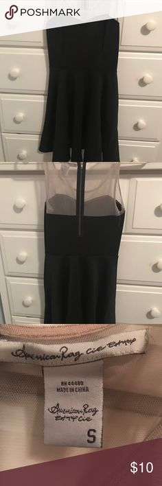 ✨Short Black Dress✨ American rag dress. Plain and simple party dress with a nude mesh top and a black bottom  Size- S  Gently worn but still in great condition  ❗️Make me an offer NEED GONE ASAP❗️ American Rag Dresses Mini