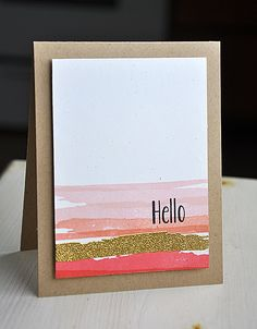 Watercolor Hello Card by Maile Belles for Papertrey Ink (February 2013)