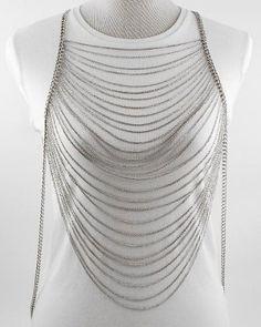 Body Chain Silver Draping Chains Dress Armor Chains Avant Garde Designer Statement