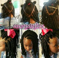 Parting for kinky twist install Little Girl Braid Styles, Kid Braid Styles, Little Girl Braids, Black Girl Braids, Braids For Kids, Girls Braids, Kid Styles, Little Girls Natural Hairstyles, Lil Girl Hairstyles