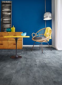The Transform Steel Rock collection by #Moduleo is perfect for a cool industrial concrete look