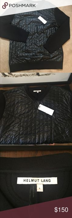"Helmut Lang Quilted Sweatshirt - Large Open to reasonable offers. Men's new with tags Helmut Lange. No trades. Quilted panel at front Banded cuffs and hem Tonal top stitching and panel seaming Size and Fit  Garment Measurements from a size M: Chest: 42"", Back length: 29½"" Helmut Lang Shirts Sweatshirts & Hoodies"