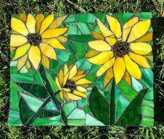 Stained glass sunflower mosaic / flower mosaic wall hanging / mosaic wall art / kitchen decor / she shed decor/ housewarming gift Stained Glass Flowers, Faux Stained Glass, Stained Glass Panels, Stained Glass Projects, Stained Glass Patterns, Mosaic Patterns, Mosaic Tile Art, Mosaic Artwork, Mosaic Glass