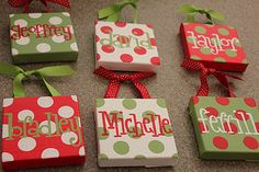 Ornaments made from small canvases and paper. How cute are there? Great for kids with unusual names.