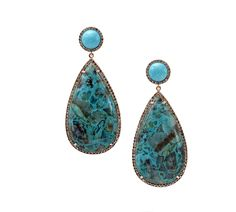 Mish New York Makena Earrings with Turquoise and Chrysocolla drops set in 18k gold and brown diamond pavé | mishnewyork.com #mishnewyork #mishearrings