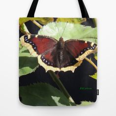 Mourning Cloak Butterfly at Rest on a Rose Leaf Tote Bag
