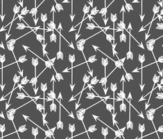 Arrows Scattered - Charcoal/White by Andrea Lauren fabric by andrea_lauren on Spoonflower - custom fabric