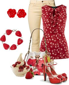 """Strawberry Icecream"" by glinwen ❤ liked on Polyvore"