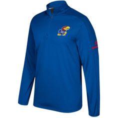 adidas Men's Kansas Jayhawks Blue Sideline Long Sleeve Quarter-Zip Shirt, Size: Medium, Team