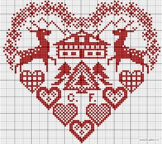 Cross stitch pattern - not too keen on the house in the centre, but was thinking I could adapt to include our surname. Cross Stitching, Cross Stitch Embroidery, Embroidery Patterns, Hand Embroidery, Cross Stitch Designs, Cross Stitch Patterns, Blackbird Designs, Cross Stitch Heart, Christmas Cross