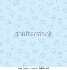 lovely light blue seamless pattern for web with flat apartment equipments elements: kettle, iron, phone... - stock vector