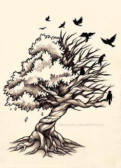 Life and Death Tree - Commission by dannii-jo tree tattoo Life and Death Tree - Commission by dannii-jo on DeviantArt Side Tattoos, Body Art Tattoos, Tattoo Side, Tatoos, Tattoo Sketches, Tattoo Drawings, Owl Drawings, Dead Tree Tattoo, Life Tree Tattoo