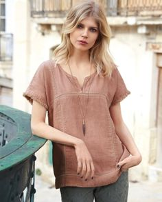 Elena top - Wrap London - Heavily washed to create a much-loved finish, this pretty linen top has over-stitched seam and little capped sleeves with fringe trims. 100% Linen.