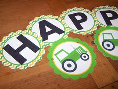 Tractor Birthday Party Banner  - Happy Birthday - by The Birthday House. $20.00, via Etsy.
