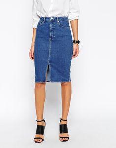 Image 1 of ASOS Split Front Denim Midi Pencil Skirt | Wishin'   ...