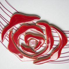 Ketten mittellang - Romantisches Rosen Set aus Keramik - ein Designerstück von bivo bei DaWanda