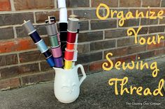 How to Organize Your Sewing Thread by The Country Chic Cottage Sewing To Sell, Sewing For Kids, Thread Organization, Fun Projects For Kids, Country Chic Cottage, Sewing Hacks, Sewing Tips, Diy, Crochet
