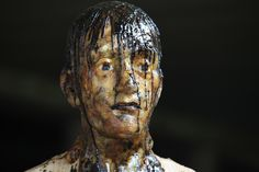 ARON DEMETZ. Untitled 1, 2009. Cedar wood and pine resin, 210 x 50 x 50 cm.