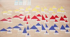 Montessori Detective Adjective Game is sixty-three triangles composed of the seven different types. Each type in three different sizes