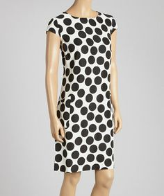 Look at this #zulilyfind! Ivory & Black Polka Dot Pocket Cap-Sleeve Dress by Danny & Nicole #zulilyfinds