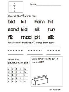 Short /i/ word family worksheets