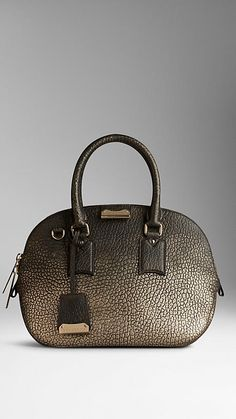 The Small Orchard in Metallic Signature Grain Leather from Burberry