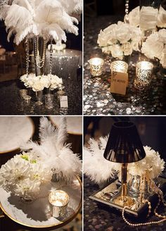 Feather, pearls and sparkles, you will find so many 1920's inspired details from this Great Gatsby themed party. Check out the full gallery: http://www.colincowieweddings.com/articles/engagements-celebrations/great-gatsby-inspired-celebration #centerpiece #feather