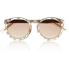Le Specs Cheshire polka-dot round-frame acetate sunglasses ($65) ❤ liked on Polyvore featuring accessories, eyewear, sunglasses, glasses, очки, neutrals, acetate sunglasses, lens glasses, round frame glasses and round frame sunglasses