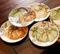 Watercolor Painted Pumpkin Plates, Mixed Set of 4