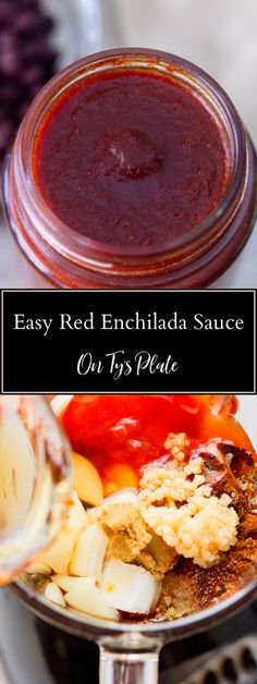 A deliciously rich and smooth homemade red enchilada sauce made from dried chilies and the perfect blend of spices. Jam Recipes, Sauce Recipes, Appetizer Recipes, Cooking Recipes, Delicious Recipes, Dinner Recipes, Appetizers, Red Enchiladas, Homemade Enchiladas