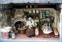 Haunted Dollhouse, Haunted Dolls, Halloween Haunted Houses, Halloween House, Diy Dollhouse, Dollhouse Miniatures, Dollhouse Interiors, Witch Cottage, Witch House