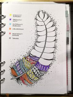 Creative Trackers: Mood Tracker for your Bullet Journal. Bujo tracker. Planner ideas. I love the art Doodles within each colored section. Mood-Feather Detail (journal art ideas)