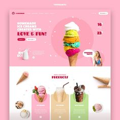 Ice Creams by Mateusz Madura for — The landing page that is to present the offer of individual cafes and the brand's… Banner Design Inspiration, Web Banner Design, Website Design Inspiration, Daily Inspiration, Cute Website, Website Layout, Web Layout, Website Ideas, Ux Design