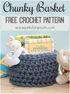 This Chunky Crochet Basket is perfect for storing books and toys or any other items you want to corral ... and it's a free pattern too! #petalstopicots