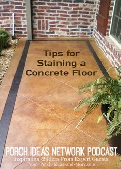 Podcast: Wonderful discussion with David Goddard about staining concrete. As a professional, he educates us on the concrete staining and stamping process. A great program to listen to for ideas on staining your porch floor, driveway or patio. Stained Concrete Porch, Concrete Walkway, Cement Patio, Concrete Floors, Concrete Staining, Concrete Patios, Stamped Concrete, Painting Concrete Porch, Plywood Floors