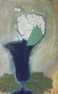 Helene Schjerfbeck (Finnish, Lilies of the Valley in a Blue Vase II, 1929 Oil on canvas, 35 x 22 cm Helene Schjerfbeck, Art And Illustration, Digital Museum, Collaborative Art, Fine Art, Lily Of The Valley, Oeuvre D'art, Les Oeuvres, Painting & Drawing