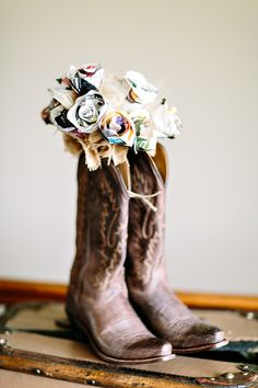 Cool idea...if husband and wife have two different interest, use shoes from the two different interests...  ex: wife who rides horses: use riding/cowboy boots  husband who loves sports: use cleats
