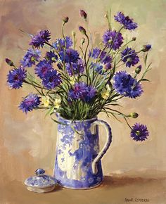 Cornflowers - Limited Edition Print | Mill House Fine Art – Publishers of Anne Cotterill Flower Art