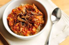 Egyptian food - Koshary - a blend of pasta, lentils, chickpeas, and tomato sauce