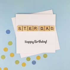 Step-Dad birthday card Handmade Step-Dad Father's Day | Etsy Dad Birthday Card, Sons Birthday, Handmade Birthday Cards, Greeting Cards Handmade, Baby Girl Cards, New Baby Cards, Your Cards, Scrabble Cards, Wooden Scrabble Tiles