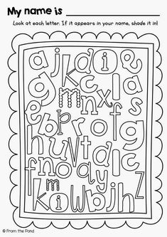 Alphabet name hunt. Could also use for sight words. Preschool Names, Alphabet Activities, Literacy Activities, Preschool Printables, Preschool Ideas, Free Printables, Beginning Of The School Year, First Day Of School, Back To School