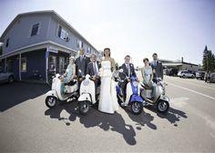 Bridal Party Vespa shot. Bayfield, WI
