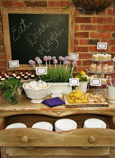 Garden Party cocktail party-Love the use of a Dresser for Storage of Buffet Items:-) Dessert Buffet, Dessert Bars, Dessert Platter, Dessert Tables, Food Buffet, Buffet Original, Cocktails For Parties, Parties Food, Themed Parties