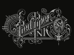 Pied Piper vector by Martin Schmetzer Tattoo Lettering Fonts, Lettering Design, Hand Lettering, Logo Design, Graphic Design, Vintage Fonts, Vintage Typography, Typography Letters, Typographie Inspiration
