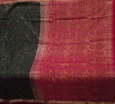 BLACK VINTAGE PURE SILK FABRIC WEAVING WOVEN ZARI HEAVY INDIAN SAREE SARI 545 GM #Unbranded #SareeSari