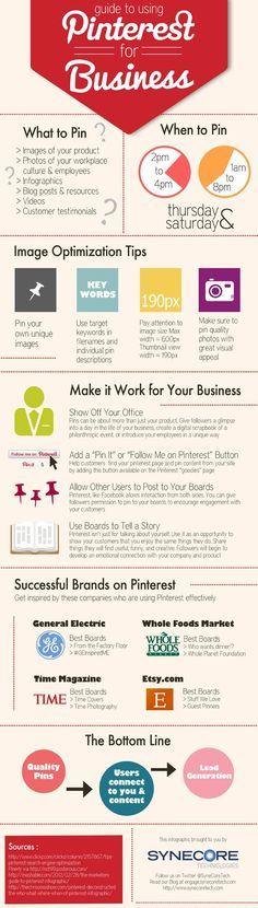 Pinterest Infographic:  Guide to Using Pinterest for your Business #infographics #socialmedia