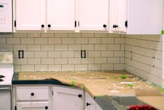 DIY kitchen backsplash tile installation